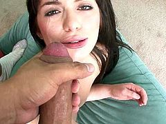 Sex-starved brunette harlot with slutty eyes sucks her boyfriend's dick gently to make it hard and ready. Bodacious brunette climbs on top of her lover so she can ride him in cowgirl pose.