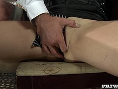 Hot blonde girl fingers her pussy right in a bar. After that she gives a blowjob to lucky waiter. Then she lies down on a table and gets her vagina fucked hard.