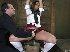 Babe did not know that the measured of punishment are that pleasant. Principle suspends her higher and starts touching her twat, making her moan!