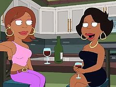 Cleveland is back in Quahog visiting Peter, and his wife has invited over a bunch of her friends. Donna Tubbs has wine with her friends and then they all get naked and have a lesbian gang bang. White, black and Asian ladies are feeling tits and eating pussy in this hardcore cartoon scene.