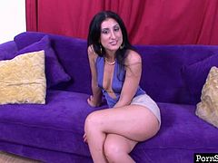 Filthy Latina brunette sits on the couch and talks too much. Long legged booty gal can be shut up only if she's asked to pose naked on cam. So kinky long haired chick strips and shows nice though pale ass with delight.