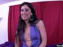 Talkative brunette Latina Luscious Lopez gets rid of dress to boast of butt