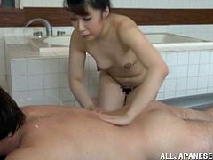 Slutty Japanese woman takes a bath together with some man. Then she gives him a rimjob and a handjob. Of course then she also gets fucked.