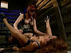 Francesca Le gets tied up and dominated by Maitresse Madeline. She gets tied up with ropes and straps. Then she gets fucked deep and hard with the strap-on.