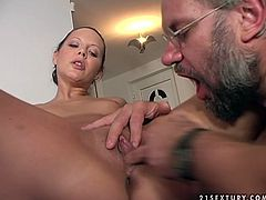 Steamy brunette student gets her muf dived by grey haired grandpa