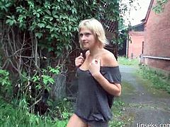Check out this super hot amateur russian babe! She shows her hot body and starts rubbing her tight shaved pussy outdoors!