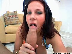 Get a load of this hottie's huge tits in this hardcore video where she has fun sucking and fucking a monster cock POV style.