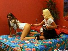 Spoiled blond whore tapes a sizzling brunette stripping in front of her before they proceed to sensual lesbian act. Brunette hussy lies on her back with legs wide open while aroused blond lesbian eats her delicious pussy.