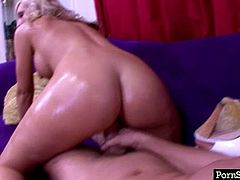 Mind taking blond hot pants squats down in front of aroused dude to polish his meaty dick with her tongue and later suck it zealously in sultry pov sex video by Pornstar.