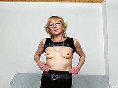 Nasty Czech granny in white fishnet stockings opens her pussy curtains wide and show you her pink juicy vagina. Watch kinky mature blonde right now.