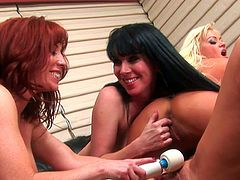 Nasty babes are using some huge toys to deep stimulate their lesbian desires