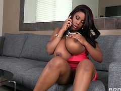 Fatty ebony with huge tits enjoys having her juicy twat nailed during hardcore