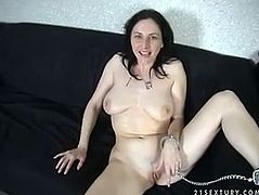 Horn-mad brunette is the owner of huge droopy boobs. Dirty-minded nympho gives a solid blowjob for sperm on cam. Then whorish bitch doesn't get rid of her panties and pisses right outdoors. Gosh, this mad black haired dick sucker is surely worth your attention in 21 Sextury xxx clip.