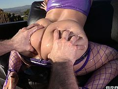 Hot babe receives a large dick stroking her ass during intense anal hardcore session