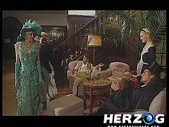 In this classic porno a Victorian age scene is played out. The ladies get down on their knees and pull the dicks out of the men's trousers. They give wet blowjobs. The girls strip out of their elaborate dresses and get fucked hard in the vaginas.