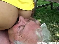 Welcome to enjoy a bit weird but surely hot threesome in Beauty And The Senior sex clip. Zealous blond and black heads with pale natural tits seek for pleasure. As these whorish gals are the way too addicted to cum they provide a spoiled old man with a solid blowjob right in the garden.