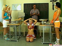 College girls act naughty in a lecture room wearing sassy uniform