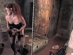 Naughty Redhead Sabrina Fox Rides Dominated Guy's Cock after Pegging