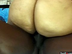 Chubby ebony whore Cheyanne Foxxx has an incredibly big round ass. She bends over to take hard dick in her eager pussy doggy style. Then she takes his shaft and bounces her fat ass on top of it!