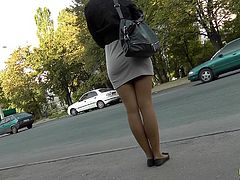 Horny voyeur feel amazing filming hotties under their skirts in public upskirt session