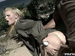 Sexy Tarra White gets fucked outdoors by a boy-scout