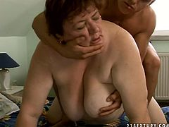 Slutty old bitch is too fat and wrinkled. Brave man takes a chance to fuck her wet mature cunt. Spoiled oldie with droopy pale big tits can do nothing but moan while being fucked both mish and doggy.