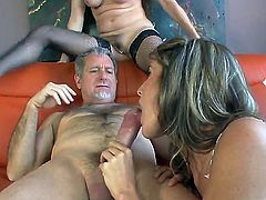 Alexandra Silk and Kara Price fuck with one man