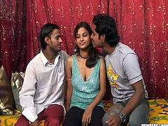 She is appetizing Indian slut with huge juicy jugs. Two guys play with her assets and sucks her black big nipples. Go for the hottest Indian Sex Lounge porn tube video.