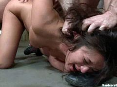 Kinky brunette girl with big ass and boobs sucks huge dicks. After that they gets double penetrated in her vagina. She also gets her ass stretched to the limit.