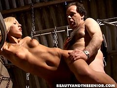 Kinky blondie with flossy ass and natural sweet tits is fond of great sex with old man. Ardent cutie likes being fucked from behind. But to get her wet pussy polished properly amazing cowgirl starts riding the fat old man's dick passionately.
