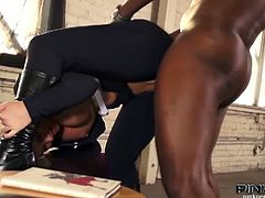 Watch the gorgeous blonde temptress Phoenix Marie getting her clam banged hard into heaven by the horny black stud Lex. She looks amazing in that blue catsuit!