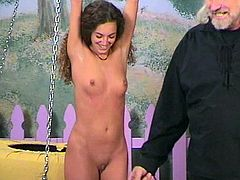 Small tits babe enjoys old guy stimulating her pussy in BDSM porn session