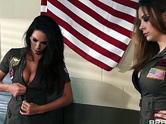 All that hierarchy and orders, life in the army can be rough, especially when you have two bossy milfs that are so demanding. Chanel and Kirsten need cock and semen from this soldier and they will milk every drop out of him. The bitches show their hot boobs and then kneel for some cock sucking action.