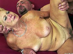 Lewd blonde granny gives a deepthroat blowjob to some horny bald stud. Then the man drives his dick into the grandma's vagina and fucks it in cowgirl and other positions.