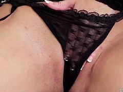 See the gorgeous brunette temptress Taylor Vixen wearing black stockings and lingerie while flaunting her amazing tits. Then she's ready to rub her shaved pussy into a superb orgasm.