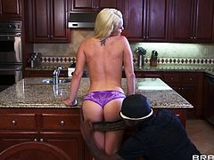 Blonde whore Alexis is married, but that doesn't keep her away from other guys. She's in the kitchen with her husband and a black dude and when her man leaves the room things get really interesting. The black guy sweet talks her and grabs her neck firmly. She's horny now and spreads her legs happily for him.