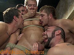 See a horny gay hunk enduring a wild group sex party where he's the main dish. After sucking a lot of cocks and asses, they're ready to keep abusing him!