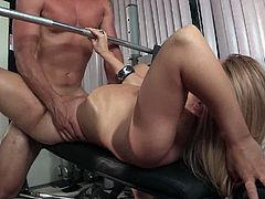 Edwin Lee is fucking a ridiculously hot girl at the gym. They use the fitness machines to find new positions.