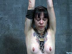 Cheyenne Jewel and Sparky Sin Claire let some dude restrain and hang them up in a foul basement. The man enjoys the view of the girls's nude bodies and then rubs their vags with a dildo.