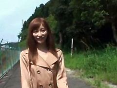 Hot bodied little Asian chick flashing her tiny boobs and hungry pussy outdoor