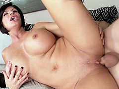Well stacked busty milf gets her pussy fucked in missionary style from behind. Later she sucks dick greedily and rides it like sex insane. Enjoy her huge bouncing boobs right now.