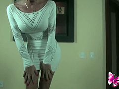 Beautiful blonde shemale got lovely body and a big cock,Watch how she seduces by stripping her sexy white dress and jerk off her big cock to turn you on.Enjoy!