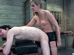Amazing blonde girl in black dress ties up the guy and orders him to do some stuff. After that he licks her pussy and gets toyed with a strap-on.