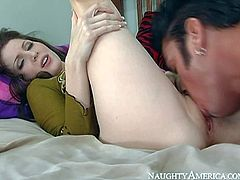 Tempting brunette Jenni Lee with french manicure and soft milky skin in high heels and jeans gives head to Cheyne Collins and makes him eat her sweet pussy to orgasm