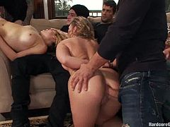 Slutty step-sisters have wild sex with eight men. They get their pussies and asses fucked so hard that they barely can move.