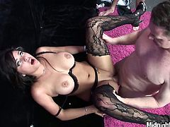 Just have a look at this amazing sexy and surely hot brunette presented in Pornstar threesome sex clip. Gorgeous nympho wears stockings and sexy black stuff. Ardent chick doesn't stop sucking a dick while being fucked missionary and doggy rough.