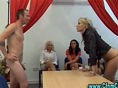 Clothed cfnm european femdom bitches sucking victim cock
