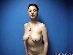 Well, this bitch is surely ugly. She is too pale. But she gonna be a real whore and strips on cam shameless. Dirty-minded bitch shows her huge boobs, which are too droopy. Check her out in 21 Sextury xxx clip, if you like ugly busty sluts.