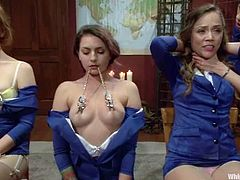 Amazingly hot girls take their clothes off and get toyed. Later on they get tied up and tortured with clothespins.