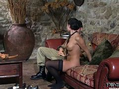 Watch the lovely Italian brunette Gaya Parisi getting her pussy munched and fingered by her man before giving him a hell of a blowjob.